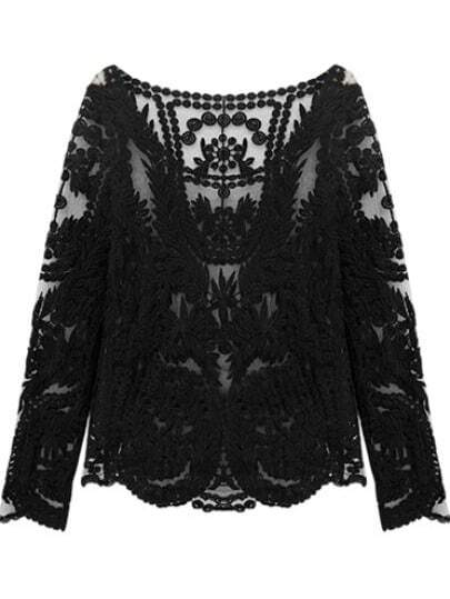Black Long Sleeve Hollow Crochet Lace Blouse -SheIn(Sheinside)