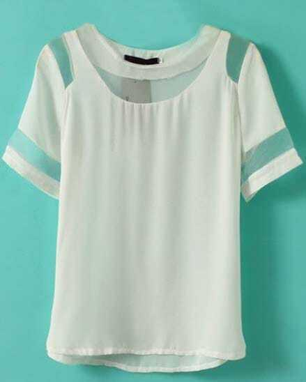 white short sleeve contrast mesh yoke chiffon t