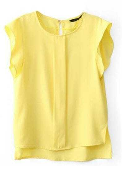 Yellow Ruffles Short Sleeve Dipped Hem Blouse