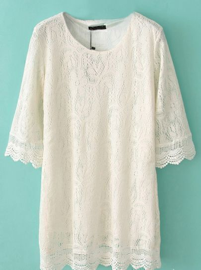 White Puff Sleeve Hollow Lace Dress