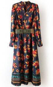 Navy Long Sleeve Floral Buttons Full-Length Dress