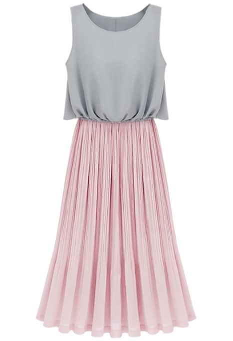 Grey Sleeveless Contrast Pink Pleated Maxi Dress -SheIn(Sheinside)
