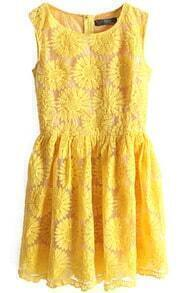 Yellow Sleeveless Sunflower Embroidery Bilayer Dress