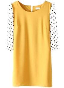 Yellow Polka Dot Half Sleeve Back Zipper Chiffon Dress