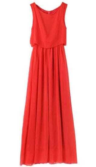 Red Bohenmia Pleated Princess Chiffon Maxi Dress
