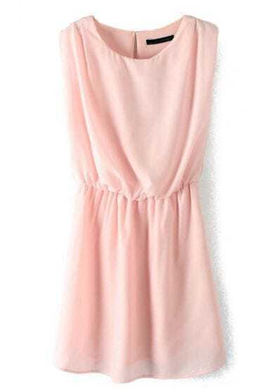Pink Sleeveless Zipper Bandeau Tank Dress