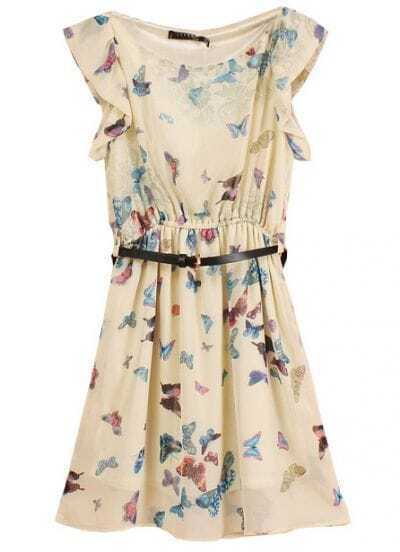 Apricot Sleeveless Butterfly Print Belt Chiffon Dress
