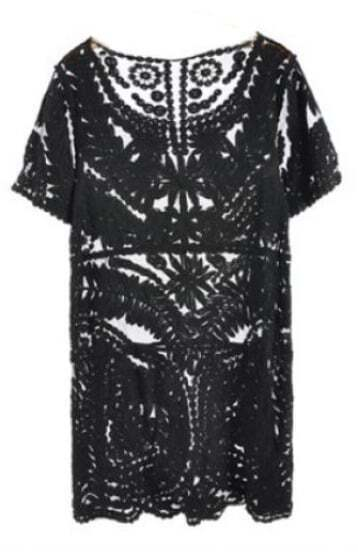 Black Short Sleeve Embroidery Sheer Lace Dress