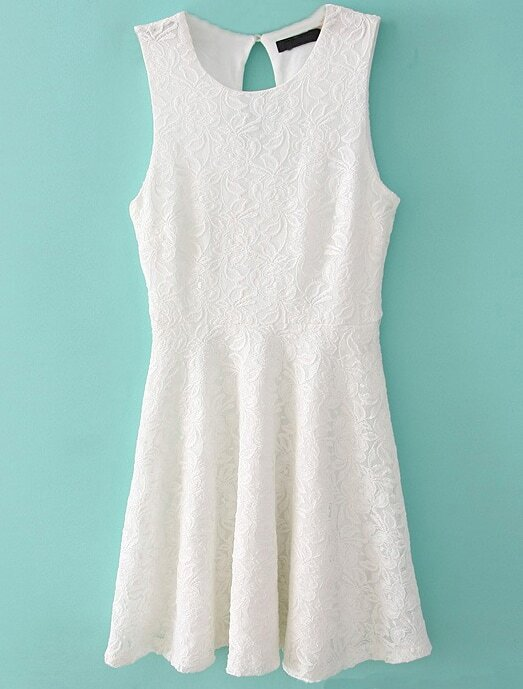 White Sleeveless Embroidery Lace Dress -SheIn(Sheinside)