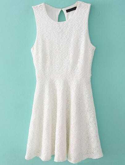 White Sleeveless Embroidery Lace Dress