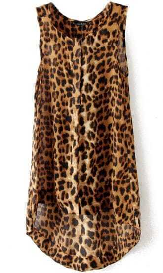 Leopard Sleeveless High Low Chiffon A Line Dress