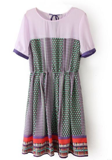 Purple Short Sleeve Geometric Print Striped Dress