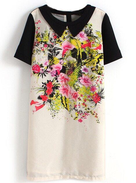 black white short sleeve zipper floral dress