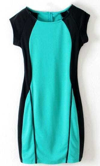 Black Contrast Green Panel Split Back Bodycon Knitting Dress