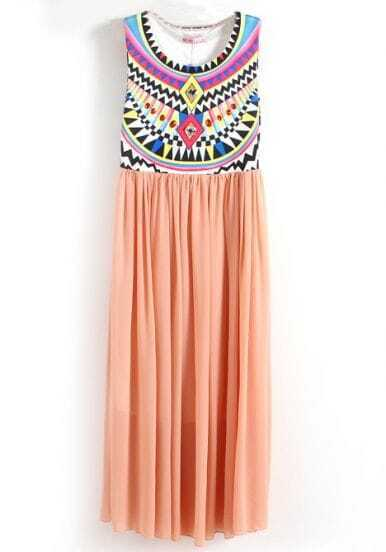 Pink Sleeveless Geometric Tribal Print Chiffon Dress