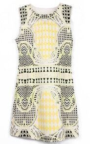 Yellow Black Sleeveless Geometric Print Tank Dress