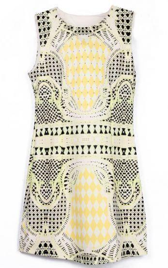 Yellow Black Sleeveless Geometric Print Tank Dress