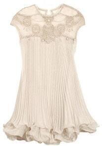 Apricot Sleeveless Bead Pleated Chiffon Dress