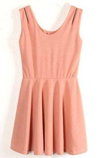 Pink Sleeveless Hollow Shoulder Tank Chiffon Dress