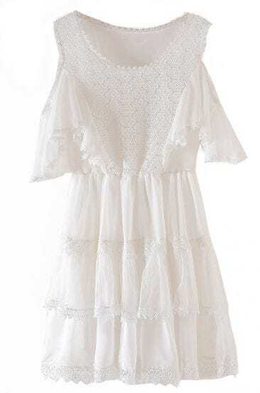 White Off the Shoulder Embroidery Lace Chiffon Dress