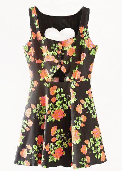 Black Sleeveless Heart Backless Floral Dress