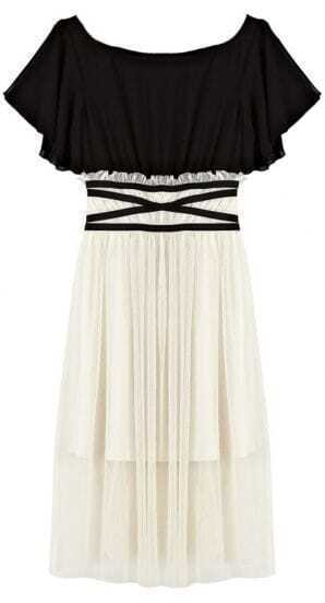 Black White Short Sleeve Bandeau Pleated Dress