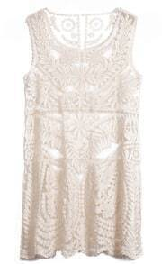 Apricot Sleeveless Hollow Embroidery Dress