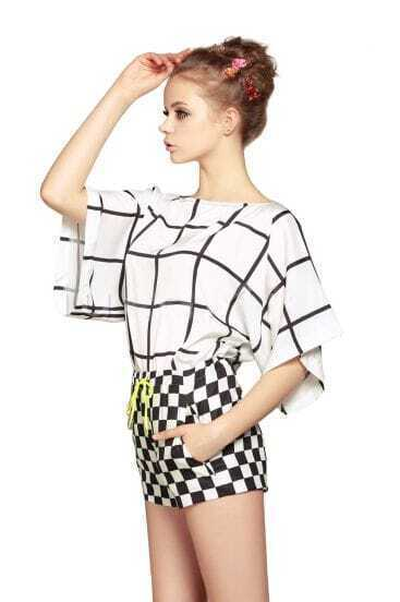 White Black Plaid Batwing Sleeve Top With Shorts