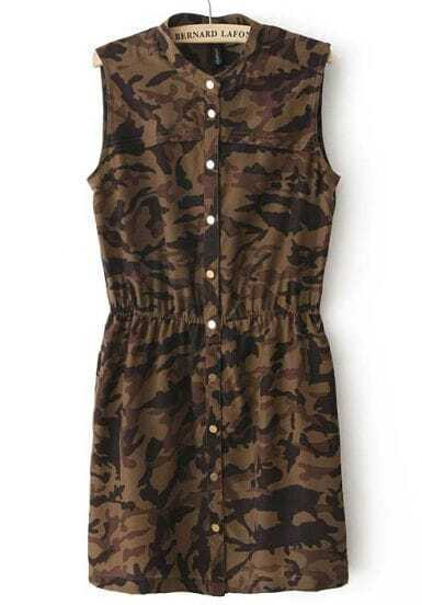 Green Camouflage Sleeveless Elastic Waist Dress