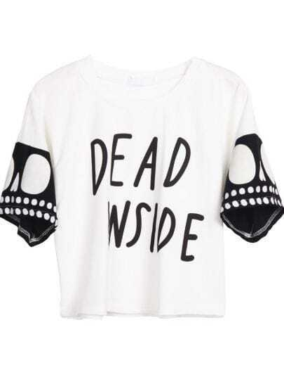 White Short Sleeve DEAD INSIDE Print Crop T-Shirt