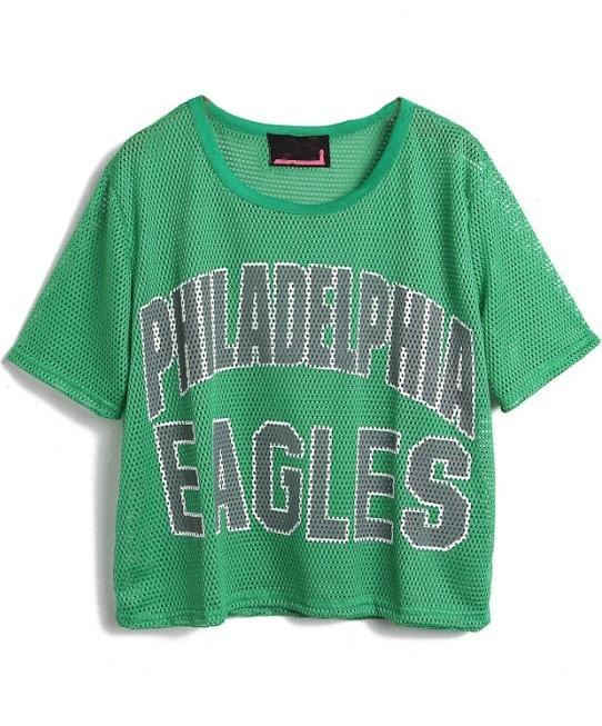 Green Philadelphia Eagles Print Mesh Yoke T Shirt Shein