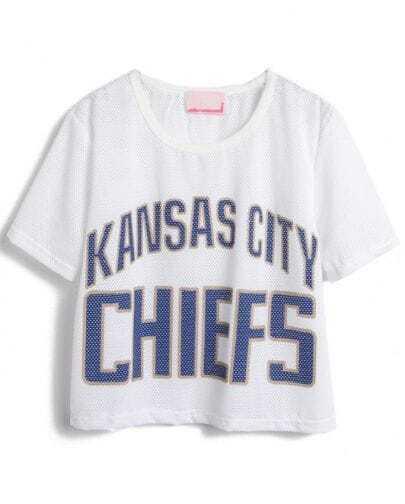 White Short Sleeve Blue Letters Print Hollow T-Shirt