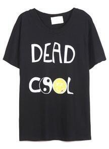 Black Short Sleeve DEAD COOL Print T-Shirt
