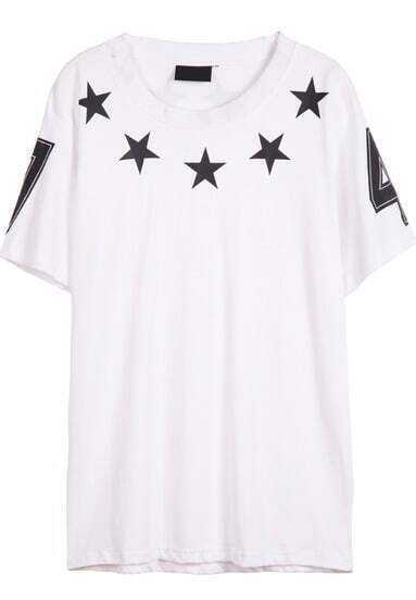 White Short Sleeve Five Stars Print T-Shirt