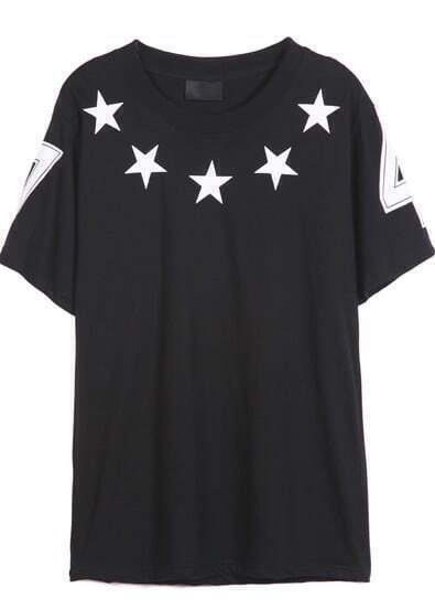 Black Short Sleeve Five Stars Print T-Shirt