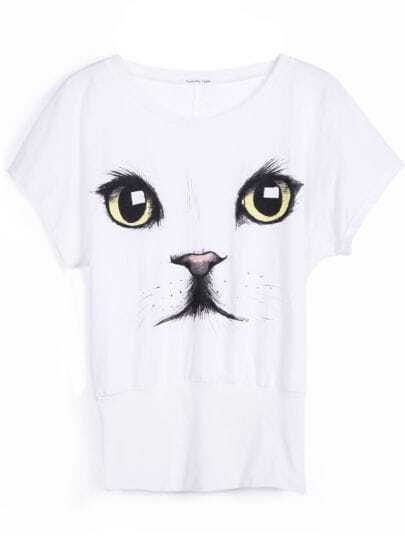 White Short Sleeve Cat Face Print T-Shirt
