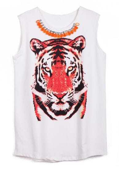 White Sleeveless Rhinestone Tiger Print T-Shirt