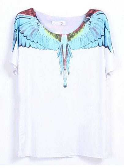 White Short Sleeve Feather Wing Print T-shirt