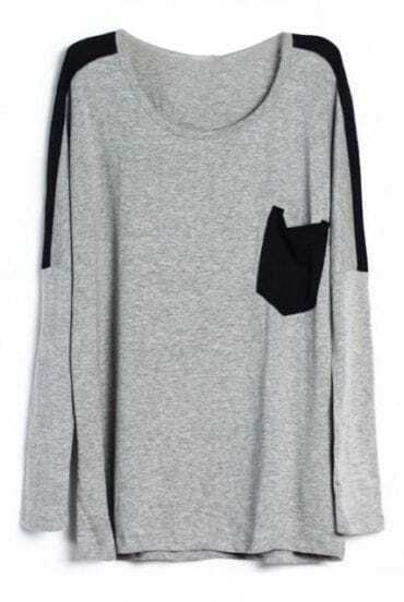 Grey Contrast Black Pocket Round Neck Long Sleeve T-Shirt