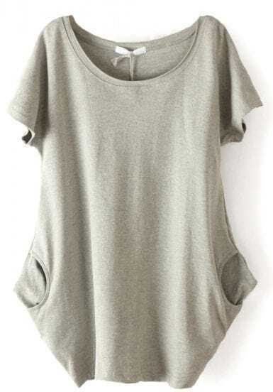Grey Short Sleeve Side Pockets Loose T-Shirt