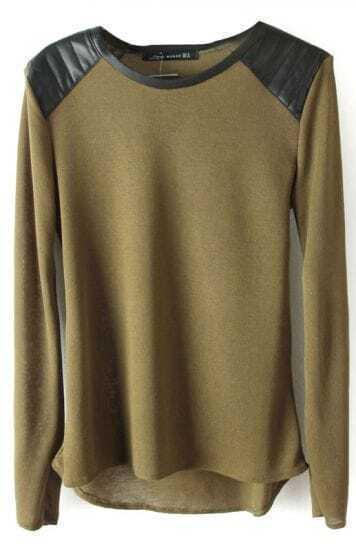 Green Shoulder Contrast PU Leather Loose T-Shirt