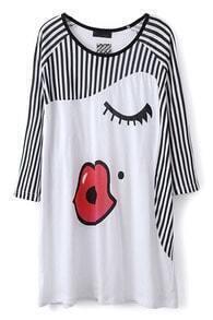 White Vertical Stripe Red Lips Print T-Shirt