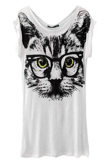 White Short Sleeve Glasses Cat Print T-Shirt