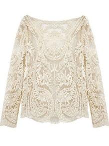 Beige Long Sleeve Hollow Crochet Lace Blouse