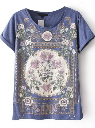 Blue Short Sleeve Floral Cotton T-Shirt