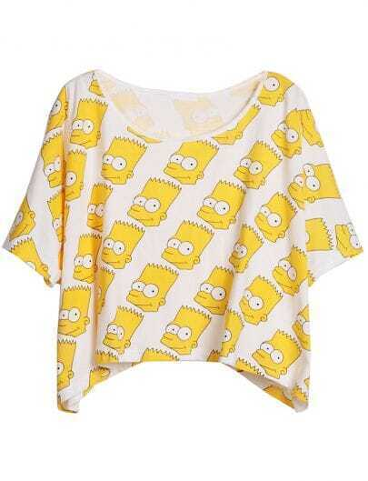 White Short Sleeve Yellow Simpson Print T-Shirt