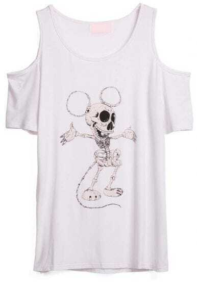 White Off the Shoulder Dance Skull Print T-Shirt