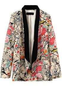 Apricot Contrast Collar Long Sleeve Floral Blazers