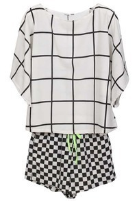 Black White Plaid Short Sleeve Chiffon Top With Shorts