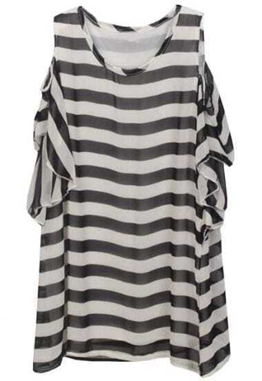Black White Off the Shoulder Striped Ruffles Dress